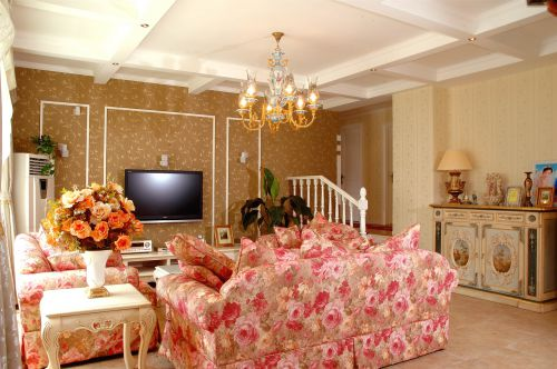 田园风格三居室客厅茶几装修效果图