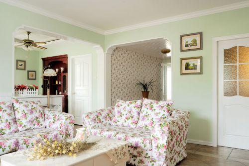 田园风格四居室客厅茶几装修效果图