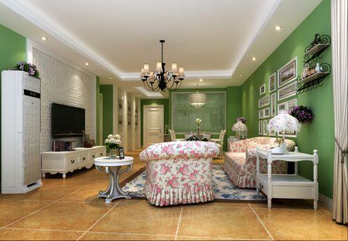 田园风格三居室客厅照片墙装修效果图大全
