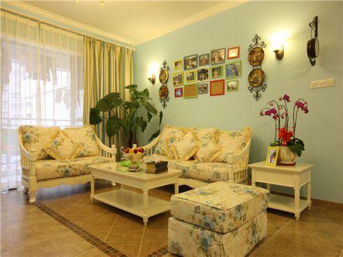 田园风格三居室客厅照片墙装修效果图欣赏