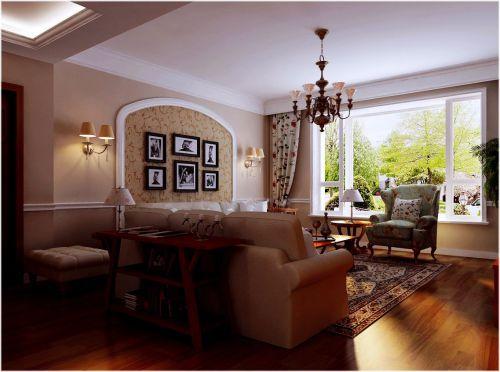 田园风格三居室客厅吊顶装修图片