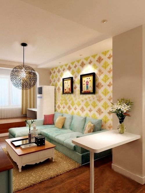 时尚活泼田园风格客厅沙发背景墙实景图
