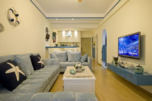 80平清新地中海风格三室一厅客厅装修效果图