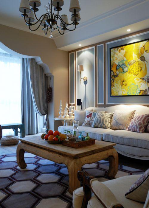 蓝色创意地中海风格客厅背景墙装修图片