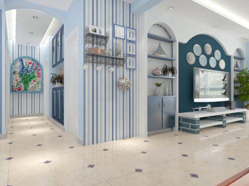 地中海风格客厅蓝色条纹壁纸装修效果图