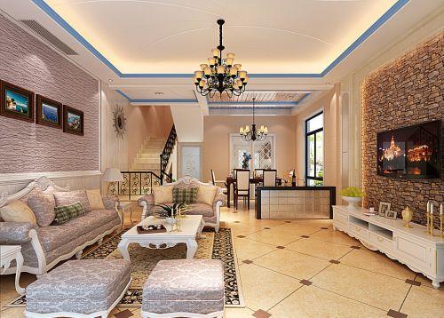 奢华地中海风格客厅效果图