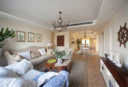 白色地中海风格三居室客厅壁纸装修效果图