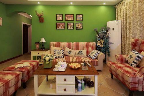 地中海客厅黑色实木照片墙实景装饰图