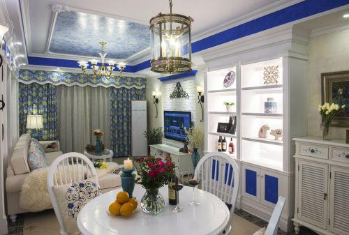 地中海风格三居室客厅照片墙装修图片