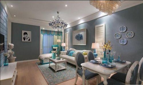 地中海风格二居室客厅壁纸装修图片