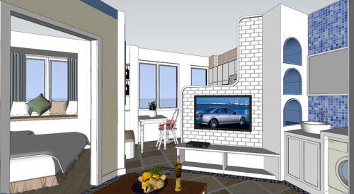 地中海风格二居室客厅吧台装修效果图欣赏