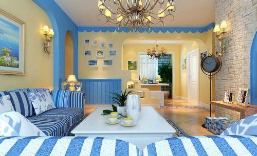地中海風格二居室客廳飄窗裝修圖片