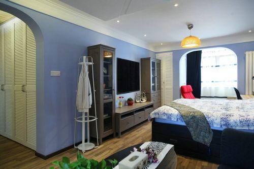 地中海风格一居室客厅背景墙装修效果图欣赏