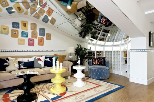 地中海风格四居室客厅照片墙装修效果图大全