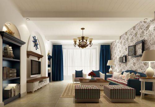地中海风格四居室客厅背景墙装修效果图大全