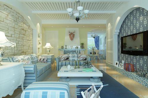 地中海风格三居室客厅茶几装修效果图欣赏