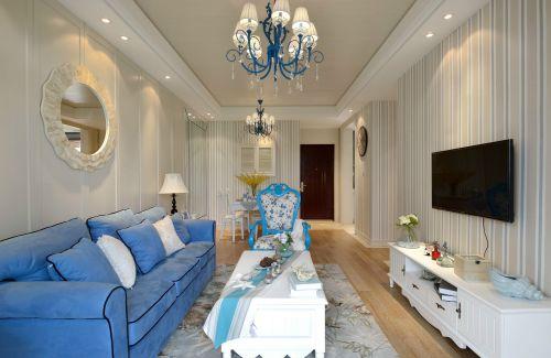 地中海风格二居室客厅影视墙装修图片