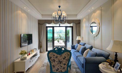 地中海风格二居室客厅窗帘装修效果图大全
