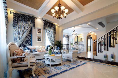 地中海风格三居室客厅窗帘装修图片