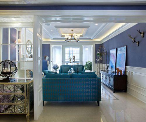 地中海风格二居室客厅影视墙装修效果图大全