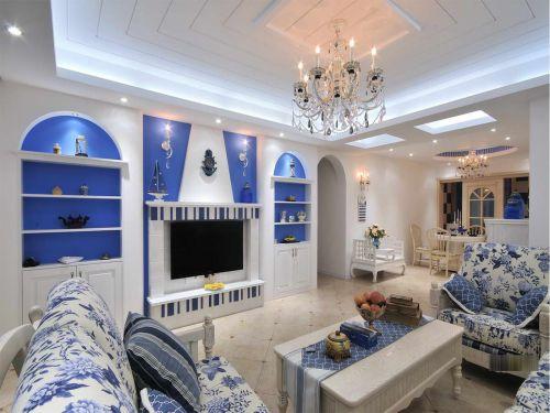 地中海风格二居室客厅茶几装修效果图大全