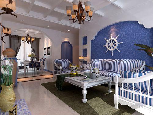 地中海风格三居室客厅灯具装修图片