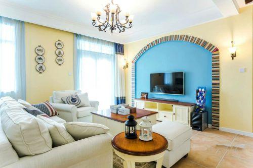 地中海风格三居室客厅背景墙装修效果图大全