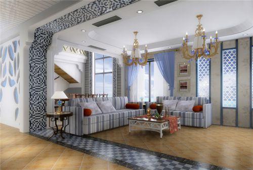 地中海风格三居室客厅背景墙装修效果图