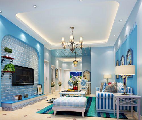 地中海风格三居室客厅照片墙装修效果图大全