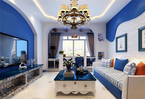 地中海风格二居室客厅背景墙装修图片
