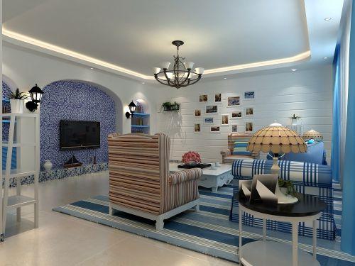 地中海风格三居室客厅装修效果图大全