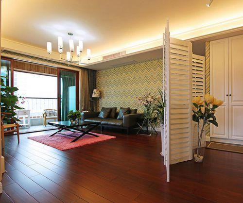 100平混搭风三居室客厅屏风装修效果图