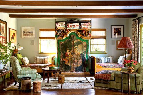 复古精致混搭风格彩色客厅装修效果图