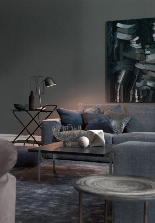 个性混搭风格优雅灰色客厅装修实景图