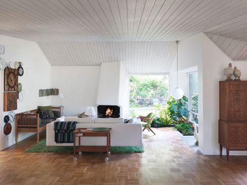 温馨混搭风格客厅暖意壁炉装修图片