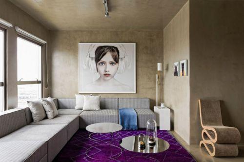 低调文艺混搭风格客厅背景墙装修图片
