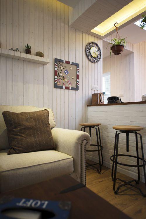 雅致混搭风格客厅吧台装修实景图