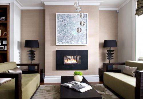 大气典雅混搭风格客厅壁炉设计效果图