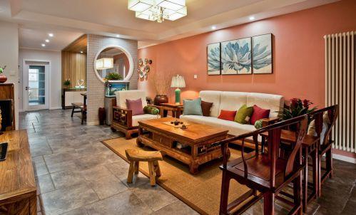 中式109㎡咖啡色客厅沙发效果图