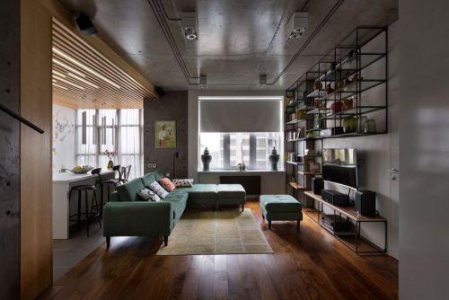 个性混搭风格客厅绿色沙发装修图片