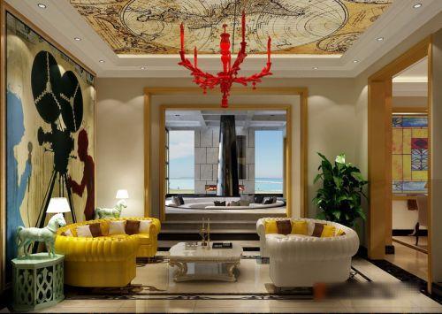 混搭风格五居室客厅照片墙装修效果图欣赏