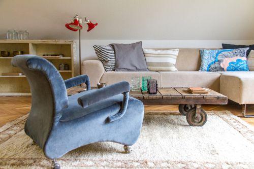 混搭风格时尚客厅复古茶几装修图片