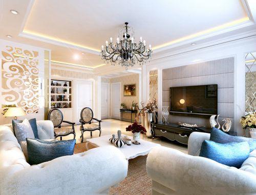 白米色简欧混搭轻复古客厅装修效果图