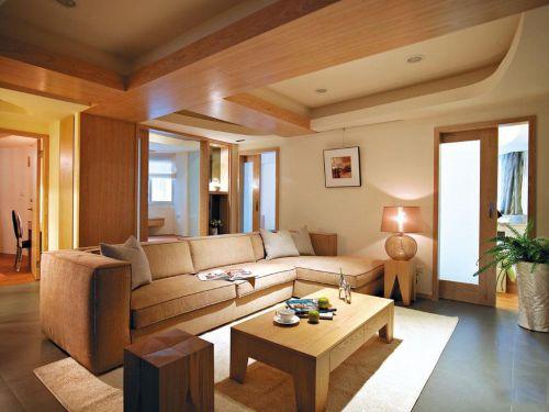 原木色混搭三居室客厅茶几装修效果图