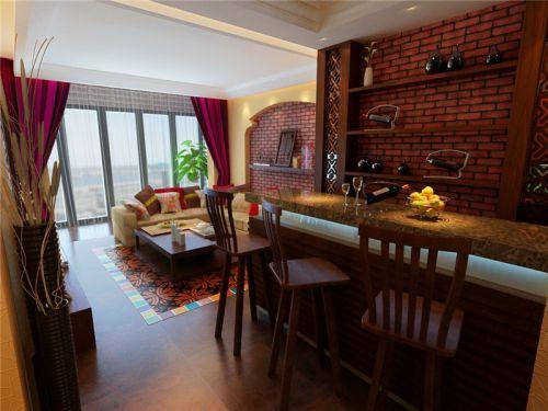 混搭风格三居室客厅吧台装修图片