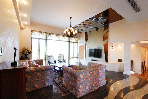 混搭风格别墅客厅背景墙,吊顶,沙发,茶几