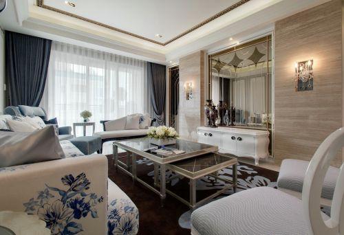 混搭风格四居室136㎡白色客厅效果图