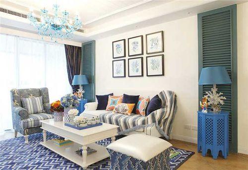 混搭风格三居室客厅窗帘装修效果图大全