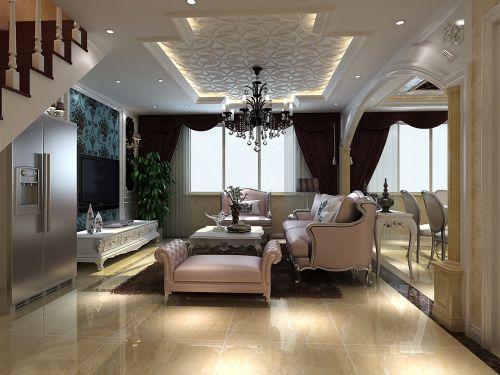 混搭风格复式客厅吊顶装修效果图欣赏