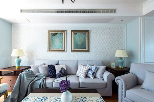 混搭风格二居室客厅背景墙装修效果图大全